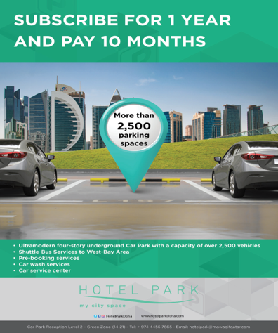 Subscribe for 1 year and pay 10 months at Hotel Park