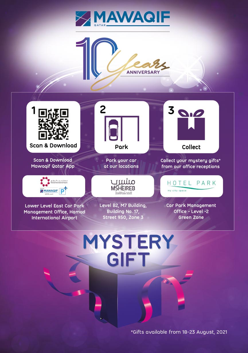 Mystery gift in celebration of QDVP Mawaqif Qatar 10 years anniversary